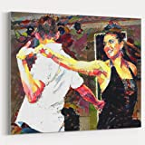 Westlake Art - Salsa Dance Lover 16x20 inch Modern Canvas Wrap Artwork Abstract Paintings Pictures Printed Wall Art for Home Office Decorations Unique Gift Idea