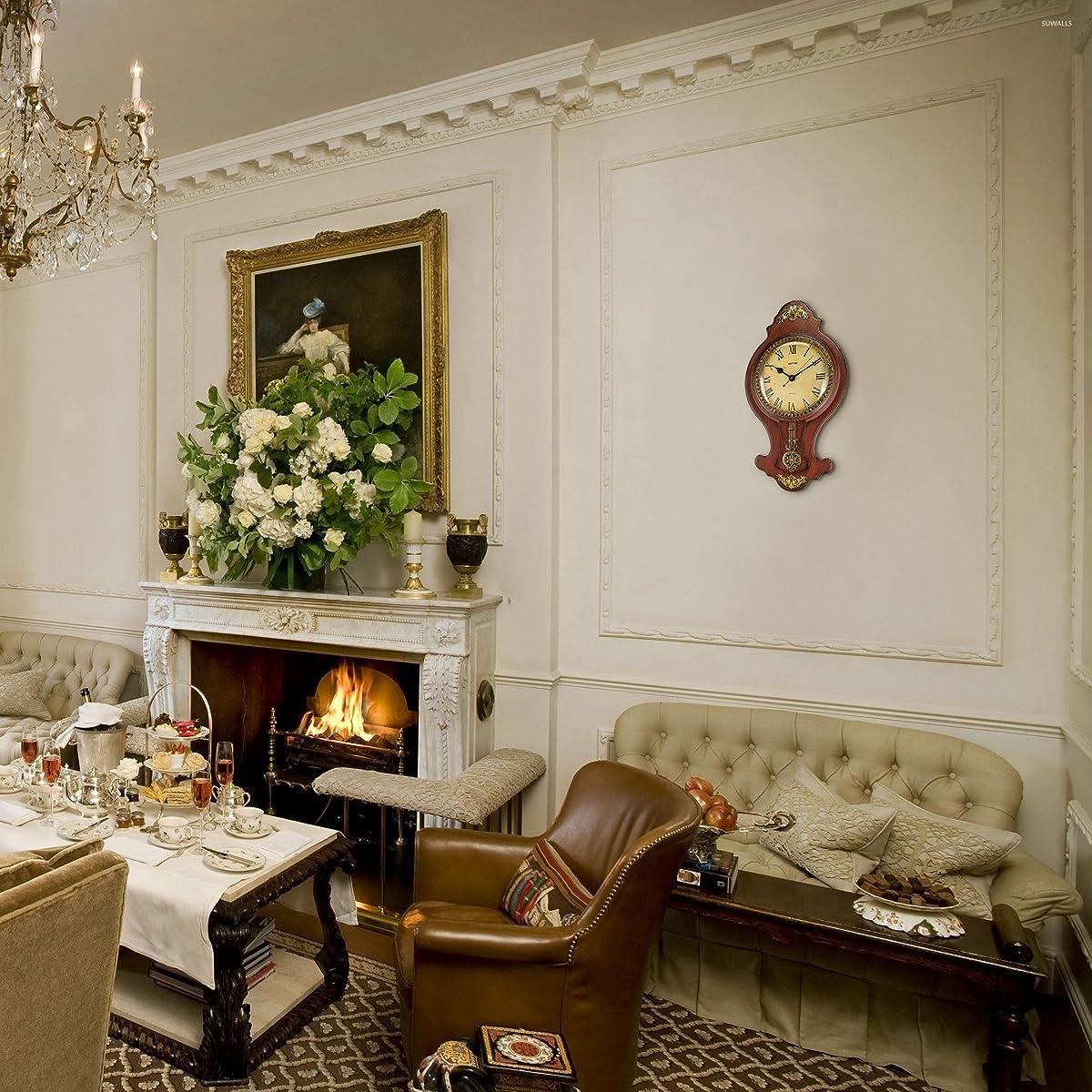 Elegant Wall Swinging Pendulum Clock Faux Wood by Decodyne (DZ-5714)