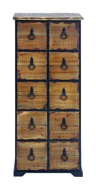 Benzara Antiqued Dresser with Natural Wooden Shade