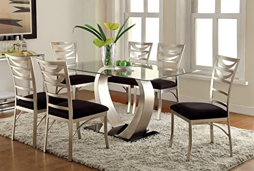 Furniture of America Alvados III 7-Piece Rectangular Glass Top Dining Set