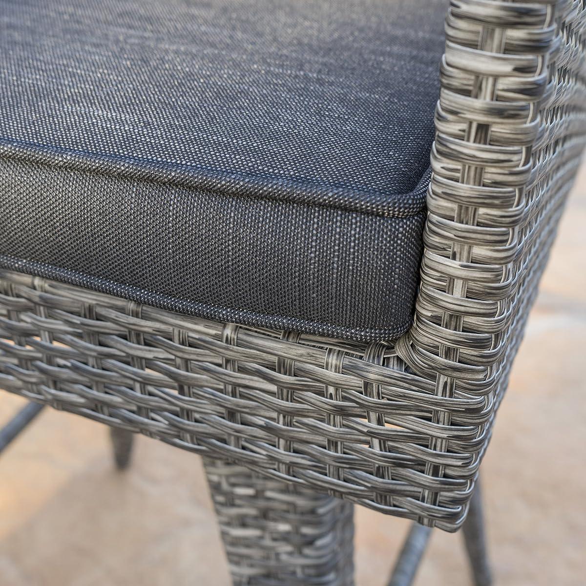Venice Patio Furniture ~ 5 Piece Outdoor Wicker Dining / Bar Set (Black and Grey)