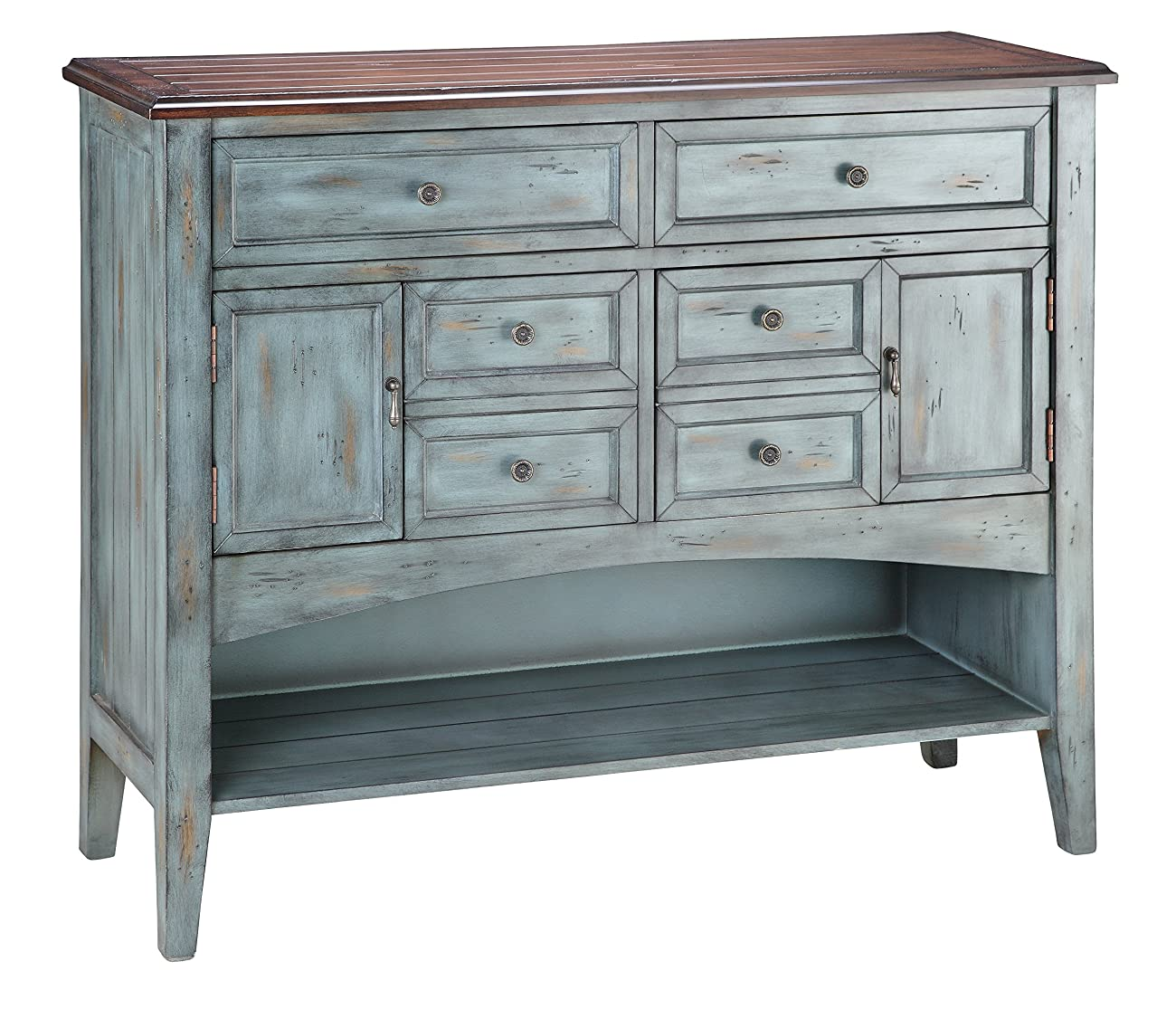 Stein World Furniture Hartford Buffet/Server, Distressed Moonstone Antique Blue/Wood Tone 0