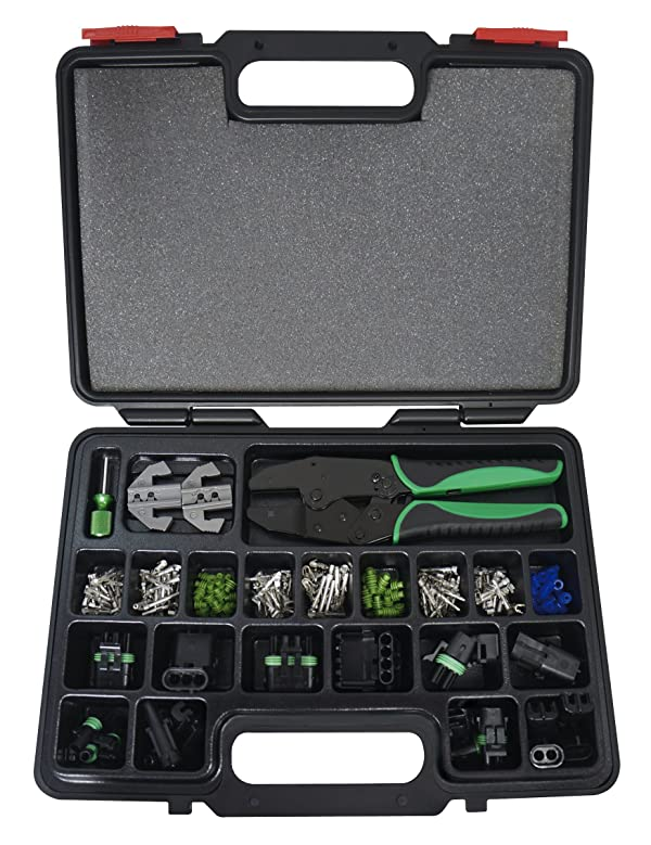 Astro Pneumatic Tool 9478 Weather Pack Interchangeable Ratcheting Crimping Tool & Accessory Set (220 Piece)
