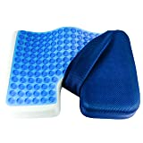 Galashield Coccyx Cushion Cool Gel Seat Cushion Memory Foam Pillow Orthopedic Tailbone and Sciatica Pain Relief with Mesh Cover Great for Office Car Seat and Wheelchair (Color: Navy)