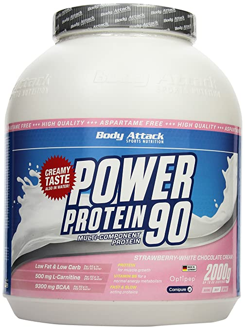 Body Attack Power Protein 90 Strawberry White Chocolate Cream, 1er Pack (1 x 2 kg)