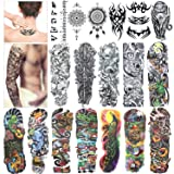 Full Arm Temporary Tattoo, Konsait Extra Temporary Tattoo Black tattoo Body Stickers for Man Women (18 Sheets)