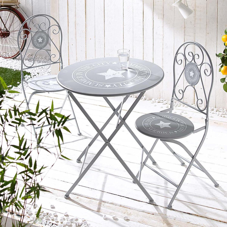 Bistroset, Stern-Design, Metall, Stuhl je ca. B40 x T50 x H94 cm, Tisch ca. 73 cm hoch, 70 cm Ø