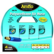 "Amflo 13-100E Blue 300 PSI Polyurethane Air Hose 3/8"" x 100' With 3/8"" MNPT Swivel Ends And Bend Restrictor Fittings"