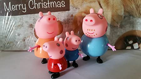 By channeltoys - Lot de 4pcs Figurines générique famille de cochon (Papa,Maman,fille,garçon) - 5 à 8 cm - Mini figures family Peppa - Pvc rigide et têté en caoutchouc -set of 4 mini Figures pig - by channeltoys
