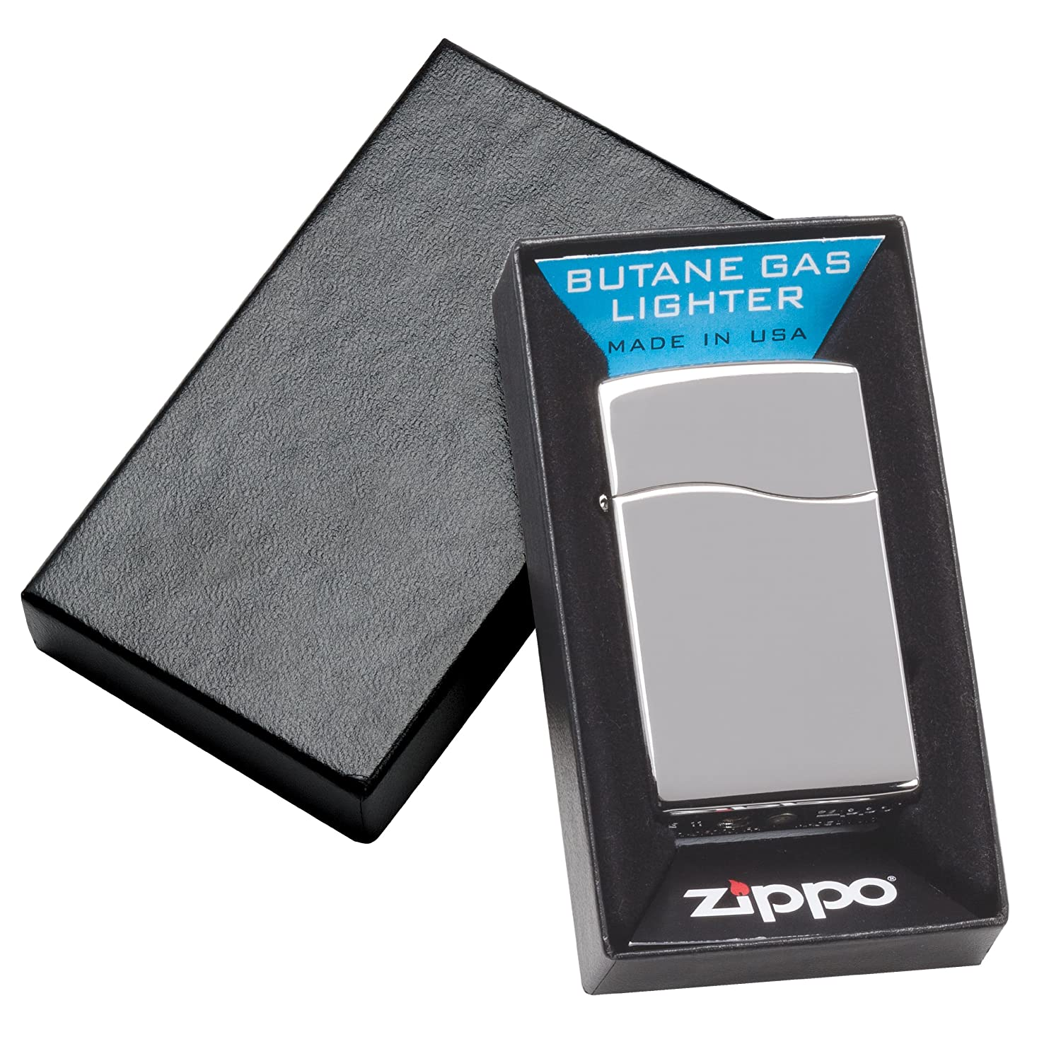 Zippo High Polish Chrome BLU2 Silver Lighter (4 1/4 x 2 1/4-Inch)