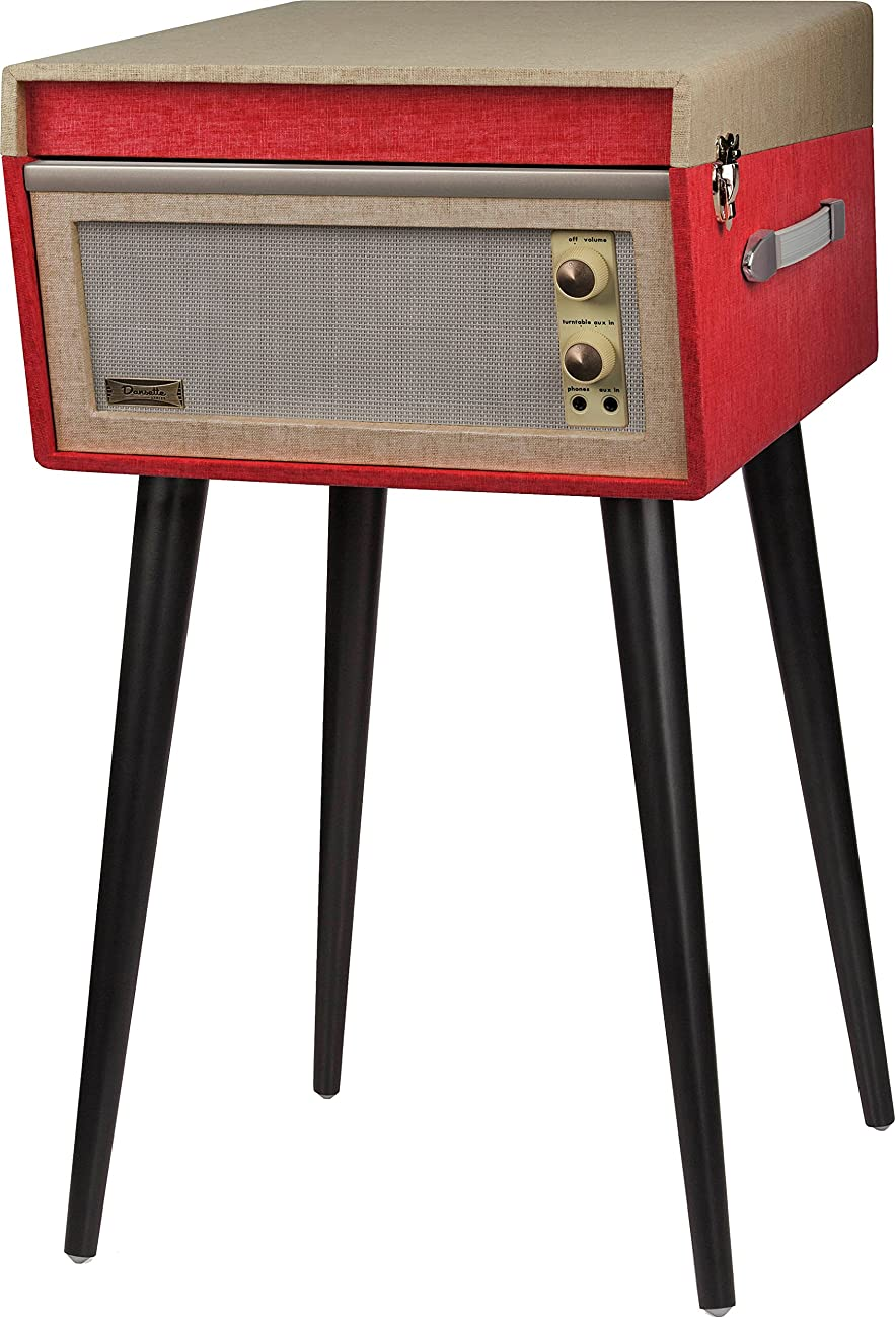 Crosley CR6233A-RE Dansette Bermuda Portable Turntable with Aux-In, Red 2