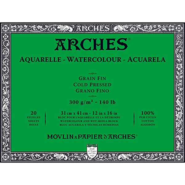 Arches Watercolor Paper Block, Cold Press, 12 x 16, 140 pound (Tamaño: 12x16)