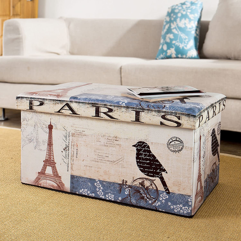 SoBuy Sitzkasten,Sitzbank,Sitztruhe,Fußstützen, Würfel,Wäschekorb, Paris FSS34-L-FR kaufen