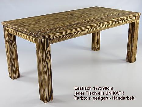 Brasilmöbel - Tavolo da pranzo in legno massello di pino, 180 x 90 cm, colore: rovere effetto tigrato