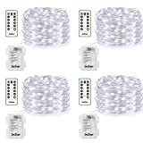 4 Pack Fairy Lights Fairy String Lights Battery Operated Waterproof 8 Modes Remote Control 50 Led String Lights 16.4ft Silver Wire Firefly lights for Bedroom Wedding Festival Decor (Cool White) (Color: Cool White, Tamaño: 16.4 ft / 50 LEF / 4 Pack)