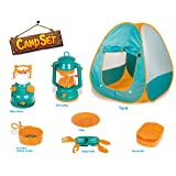 Little Explorers Pop Up Play Tent with Camping Gear Toy Tools Set for Kids (7 Pieces)