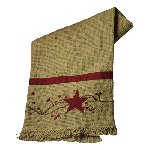 Primitive Star N Berries Vine Cotton Burlap Towel 20 X 28 Burgundy Tan