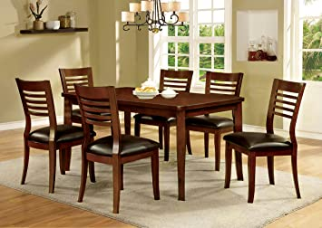 Furniture of America Dekina II 7-Piece Transitional Dining Set, Medium Oak