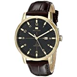 Tommy Hilfiger Men's 1710329 Gold-Tone Watch with Brown Leather Strap (Color: Brown)