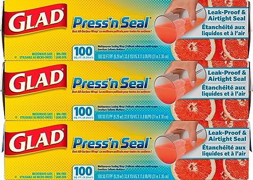 3-Pack Glad Press n Seal 100 Sq Ft Wrap
