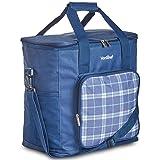 VonShef Geo Picnic Backpacks (Navy Blue Cooler Bag) (Color: Navy Blue Cooler Bag)