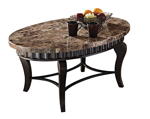 Acme 80068 Galiana Marble Top Coffee Table, Brown