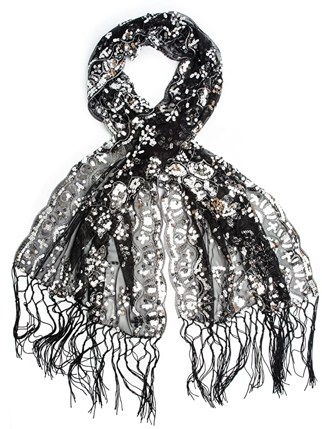 Vintage Scarves- New in the 1920s to 1960s Styles Vintage Inspired Embroidered Sequin Evening Wrap Fringe Shawl $18.95 AT vintagedancer.com