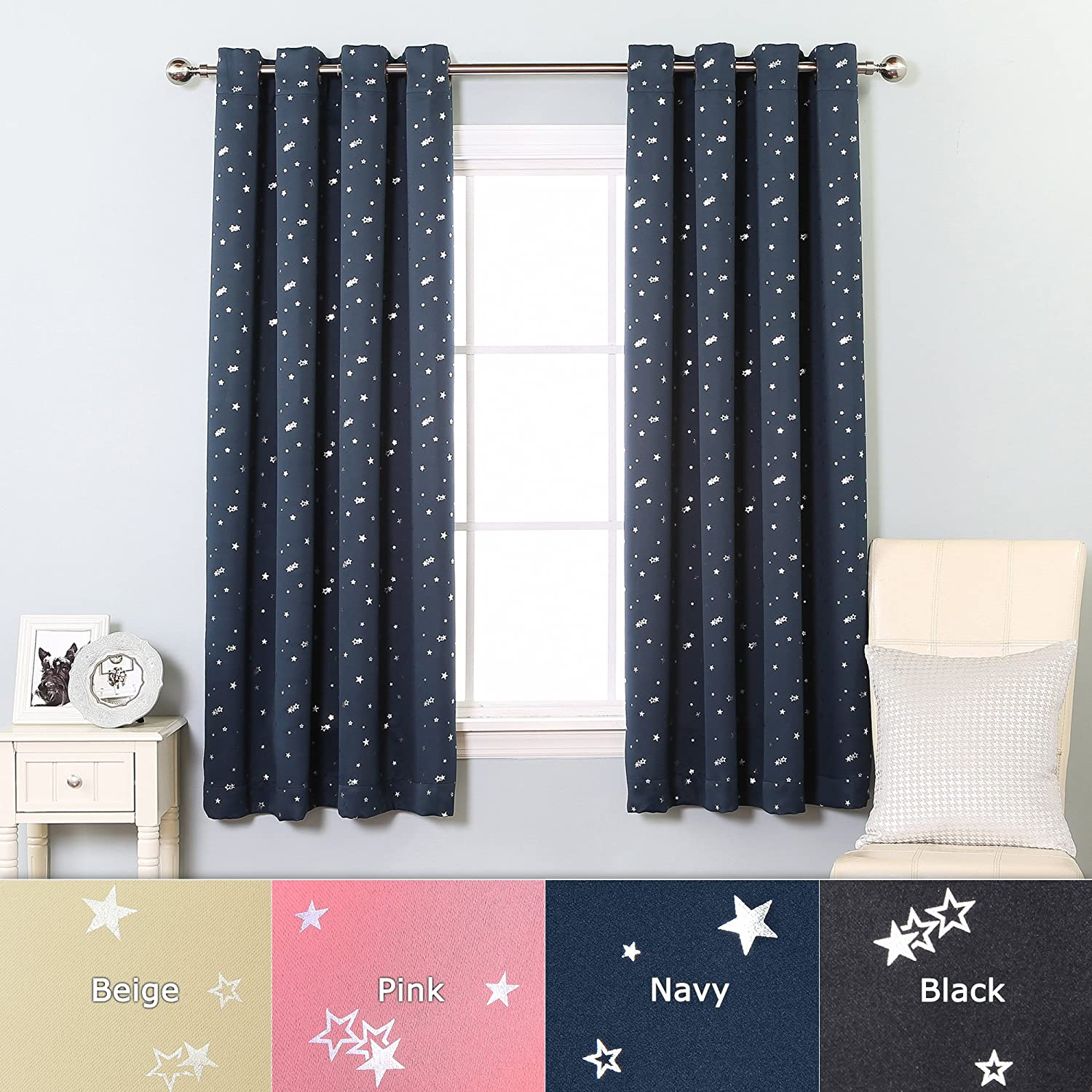 Grommet Star Print Thermal Insulated Blackout Curtain Set