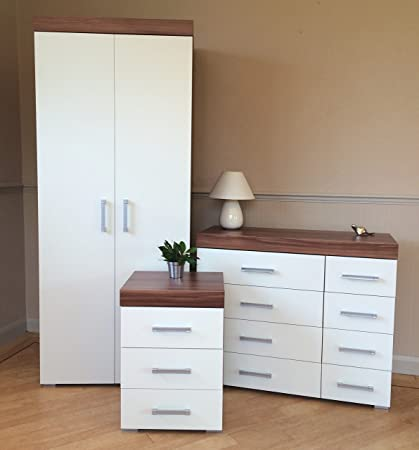 White Walnut Bedroom Furniture Set - Wardrobe, 4+4 Drawer Chest & 3 Draw Bedside Table