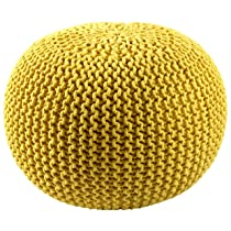 Yellow Cotton Rope Pouf