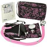 Prestige Medical Aneroid Sphygmomanometer and Sprague-Rappaport Nurse Kit, Pink Hearts Black