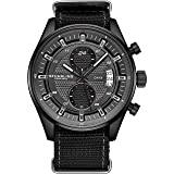 Stuhrling Original Men's Analog Watch – Stainless Steel True Dual Time Zone GMT W/Date Sports Watch – Comfortable, Durable NATO Nylon Strap – 845 Series (Grey/Black) (Color: Grey/Black)