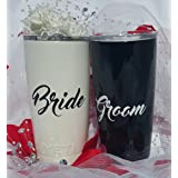 Yeti Rambler 20 Oz Tumbler, Stainless Steel, with Lid, Wedding Set, Bride and Groom, (Gloss Black and Pearl White) (Color: Gloss Black and Pearl White, Tamaño: 20 ounce)