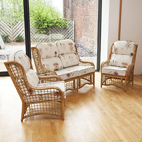 Alfresia Bali Cane and Square Lattice Conservatory Furniture Set with 2 Seater Sofa and 2 Chairs Including Luxury Cushions (Poppies Stone)