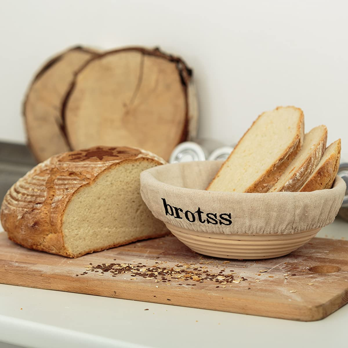 brotss Banneton Proofing Basket Round 8,66 Inch, Bundle with 4 Artisan Bread Stencils + Cloth Liner + Dough Scraper & Cutter + eBook - Artisan Rattan Brotform Set