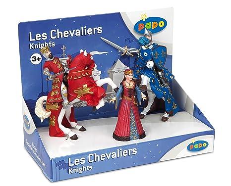 Papo - 80600 - Figurine - Boîte Présentoir Chevaliers - Reine, Roi Richard et son Cheval (rouge), Prince Philippe et son cheval (Bleu)
