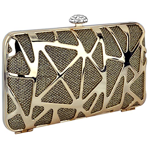 Metallic Gold Geometric Abstract Rhinestone Clasp Small Box Clutch Hard Case Baguette Evening Bag Purse Minaudiere w/Shoulder Chain
