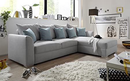 """Couch """"LILLY"""" Sofa Eckcouch Ecksofa Schlafsofa Wohnlandschaft Polsterecke L-Form 284cm hellgrau"""