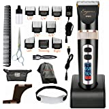 Professional hair clipper, ultra quiet design, 2000mAH Li-ion battery, 3 speed settings, 4 hours cordless runtime, 5 blade position settings, 8 guide combs, plus more in accessory kit, Eagons PRO (Color: Black, Tamaño: 9.5