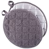 DII Everyday Kitchen Basic Oval Terry Pot Holder (Set of 2), 9.5 x 7.5, Gray