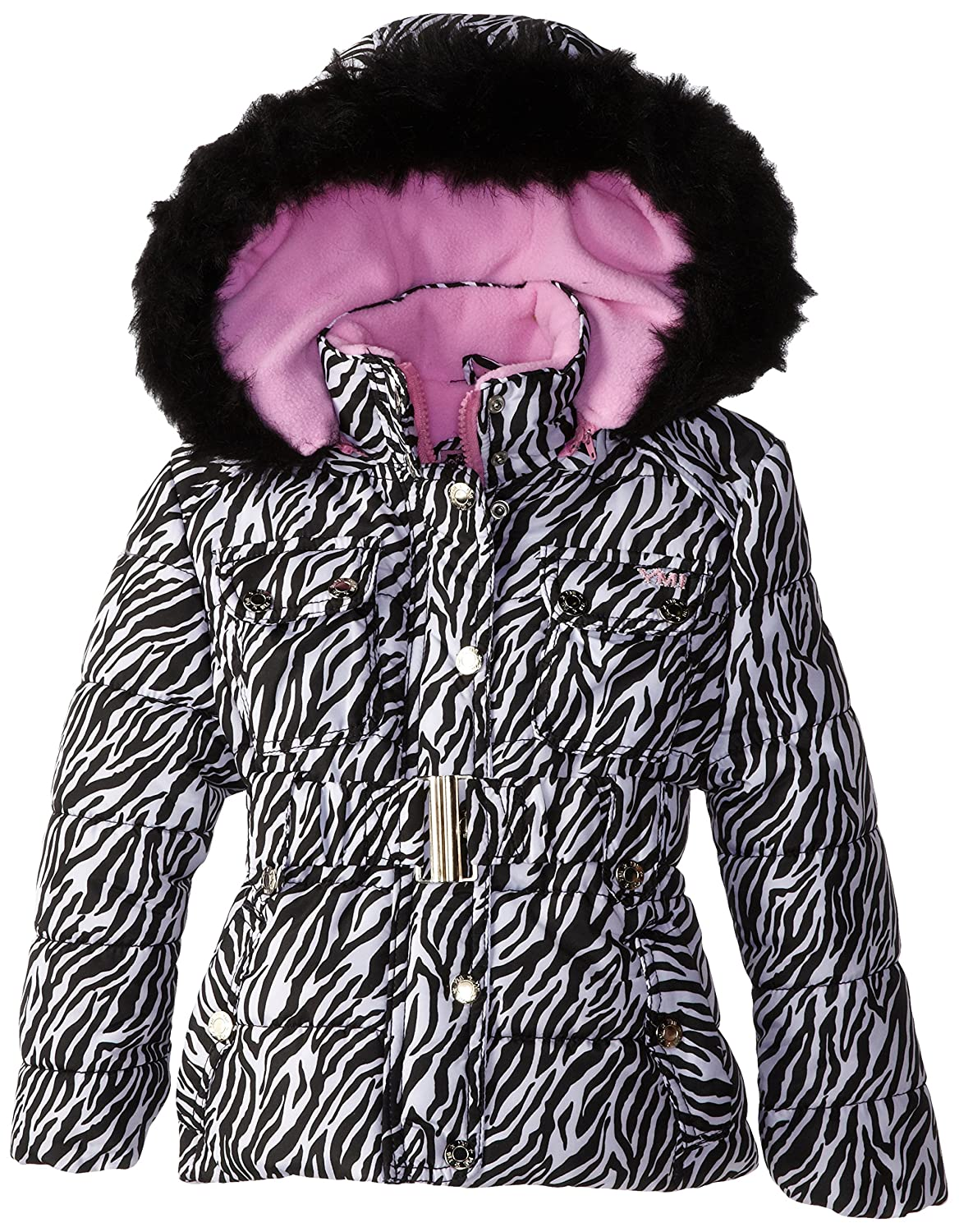 YMI Little Girls' Belted Bubble Faux Fur-Trimmed Jacket with Hood