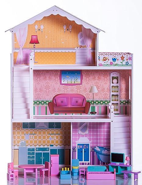 Maison de Poupées avec meubles, en bois