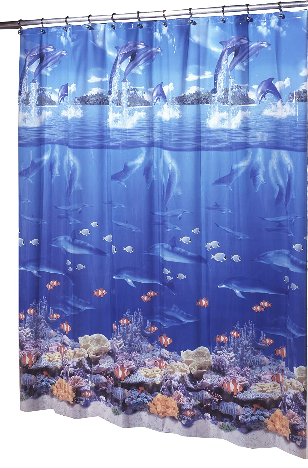 Underwater scene with dolphins and fish shower curtain