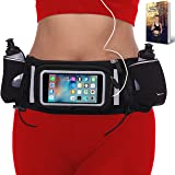 [Voted #1 Hydration Belt] Running Fuel Belt by Runtasty; Includes accessories - 2 BPA Free Water Bottles & Runners Ebook; Fits ANY iPhone; w/Touchscreen cover;