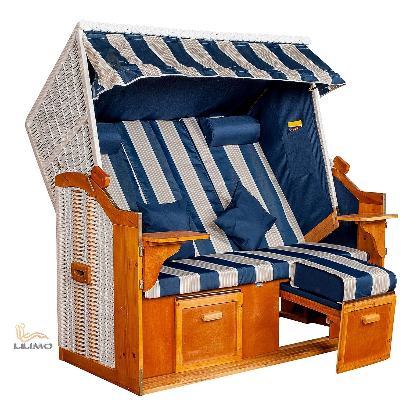 Strandkorb Ostsee BLW XXL, Bezug blau-weiß Blockstreifen, LILIMO ® jetzt bestellen