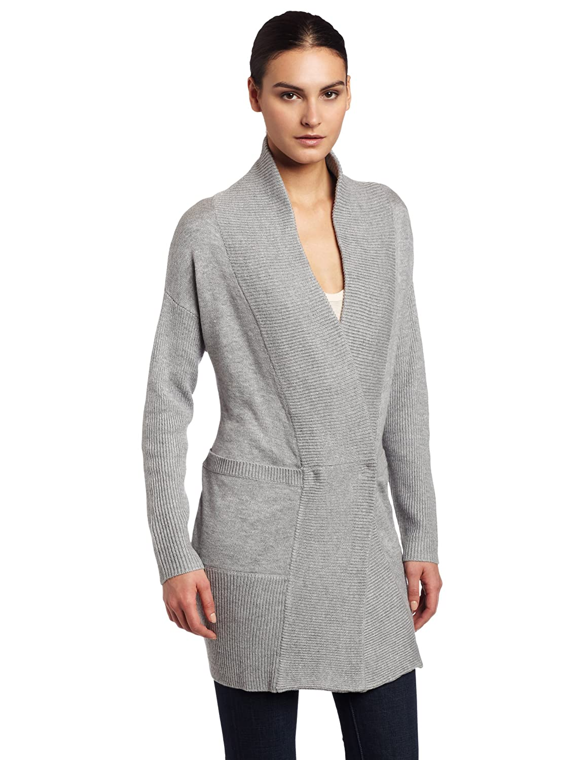 Kenneth Cole Women's Ribbed Trim Sweater Coat