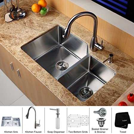 Kraus KHF203-33-KPF2130-SD20 Farmhouse Double Bowl Stainless Steel Sink with Faucet and Soap Dispenser