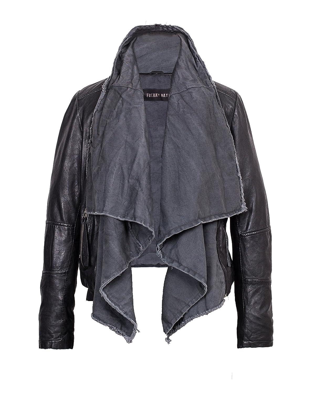 Freaky Nation - Sportliche Damen Lederjacke mit Textileinsatz in black/grey, Art. Scarf (314297)