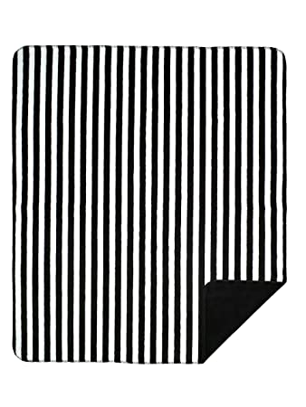 Denali Home Collection by Mont Double-Sided Reversible Throw, 60 by 70-Inch, Black and White Stripe/Black