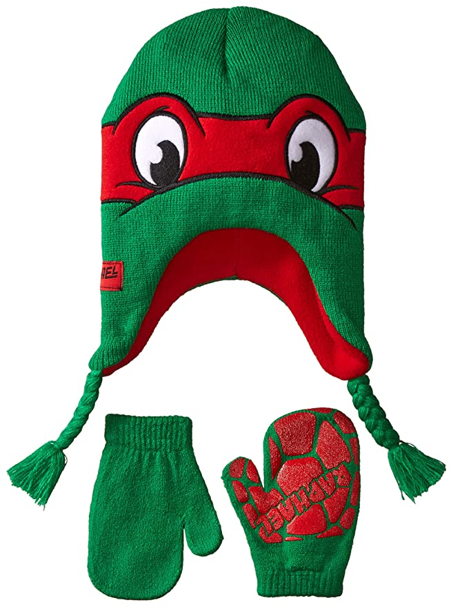 Teenage Mutant Ninja Turtle Little Boys' Rafael Hat and Mitten Set, Red, One Size